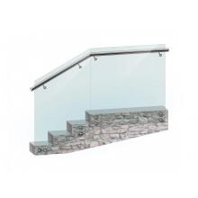 Перила из закалённого несущего стекла с боковым поручнем из нержавеющей стали