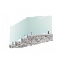 Перила из закалённого стекла на напольном стеклодержателе без поручня