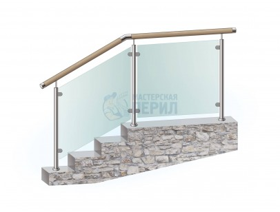 Перила из нержавеющей стали с деревянным поручнем с заполнением из закалённого стекла на стойках