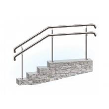 Перила из нержавеющей стали для пандусов для инвалидов поручень верхний и боковой на стойках через две ступени